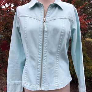 CAbi fitted zip up denim jacket sky blue M